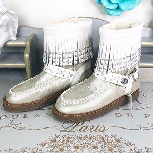 Coach gold metallic leather fringed boots